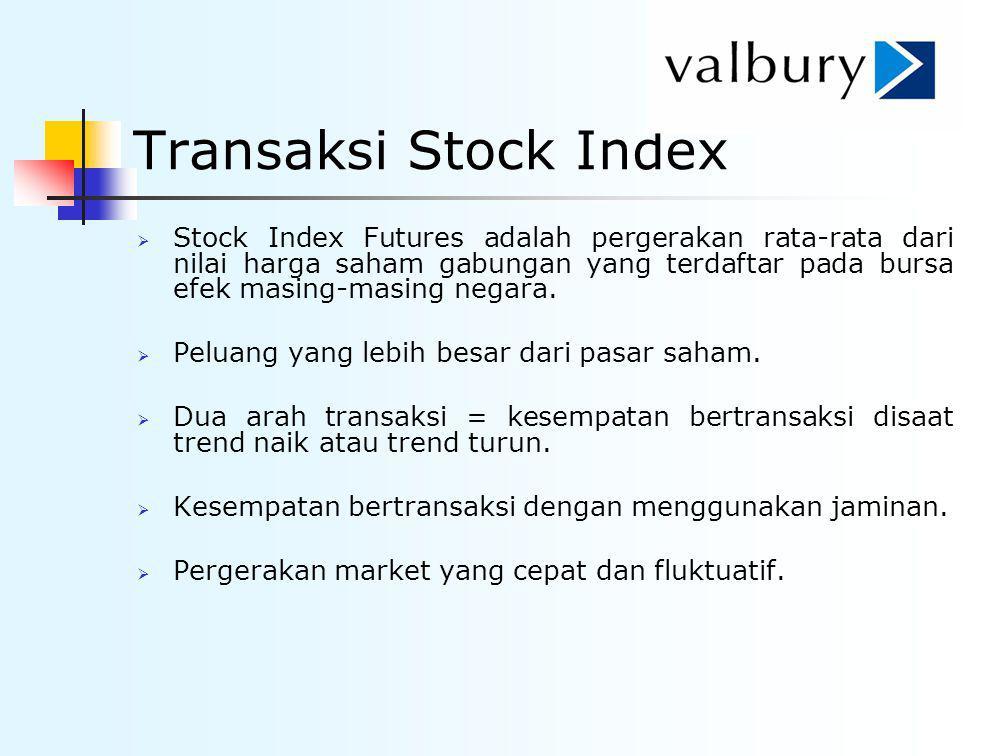 Transaksi Stock Index  Stock Index Futures adalah pergerakan rata-rata dari nilai harga saham gabungan yang terdaftar pada bursa efek masing-masing n
