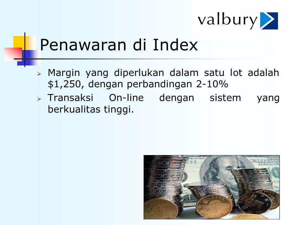 Penawaran di Index  Margin yang diperlukan dalam satu lot adalah $1,250, dengan perbandingan 2-10%  Transaksi On-line dengan sistem yang berkualitas