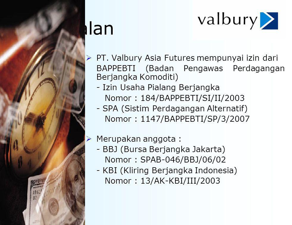 Perkenalan  PT. Valbury Asia Futures mempunyai izin dari BAPPEBTI (Badan Pengawas Perdagangan Berjangka Komoditi) - Izin Usaha Pialang Berjangka Nomo