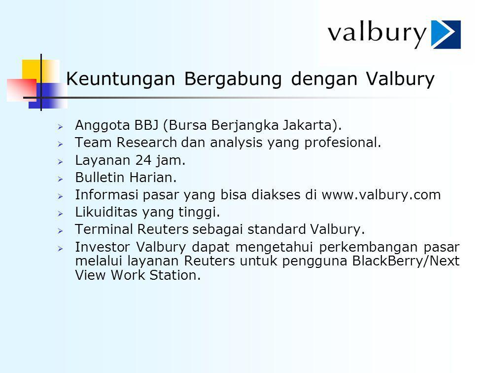 Keuntungan Bergabung dengan Valbury  Anggota BBJ (Bursa Berjangka Jakarta).  Team Research dan analysis yang profesional.  Layanan 24 jam.  Bullet