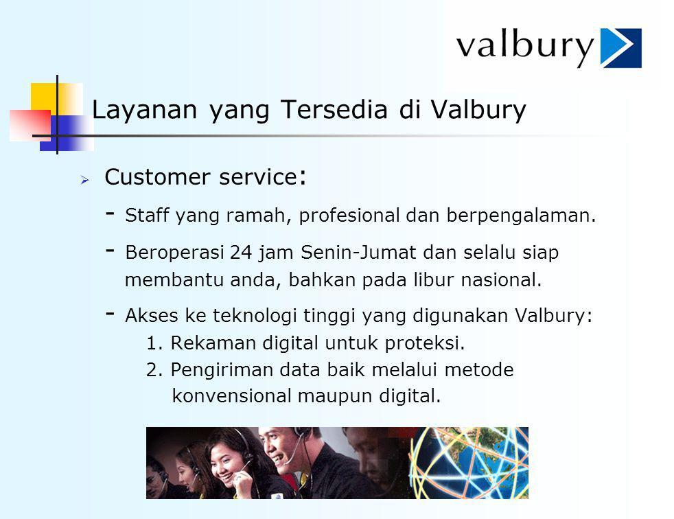 Layanan yang Tersedia di Valbury  Customer service : - Staff yang ramah, profesional dan berpengalaman. - Beroperasi 24 jam Senin-Jumat dan selalu si