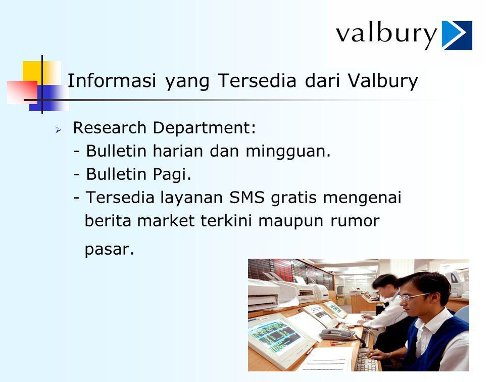 Informasi yang Tersedia dari Valbury  Research Department: - Bulletin harian dan mingguan. - Bulletin Pagi. - Tersedia layanan SMS gratis mengenai be