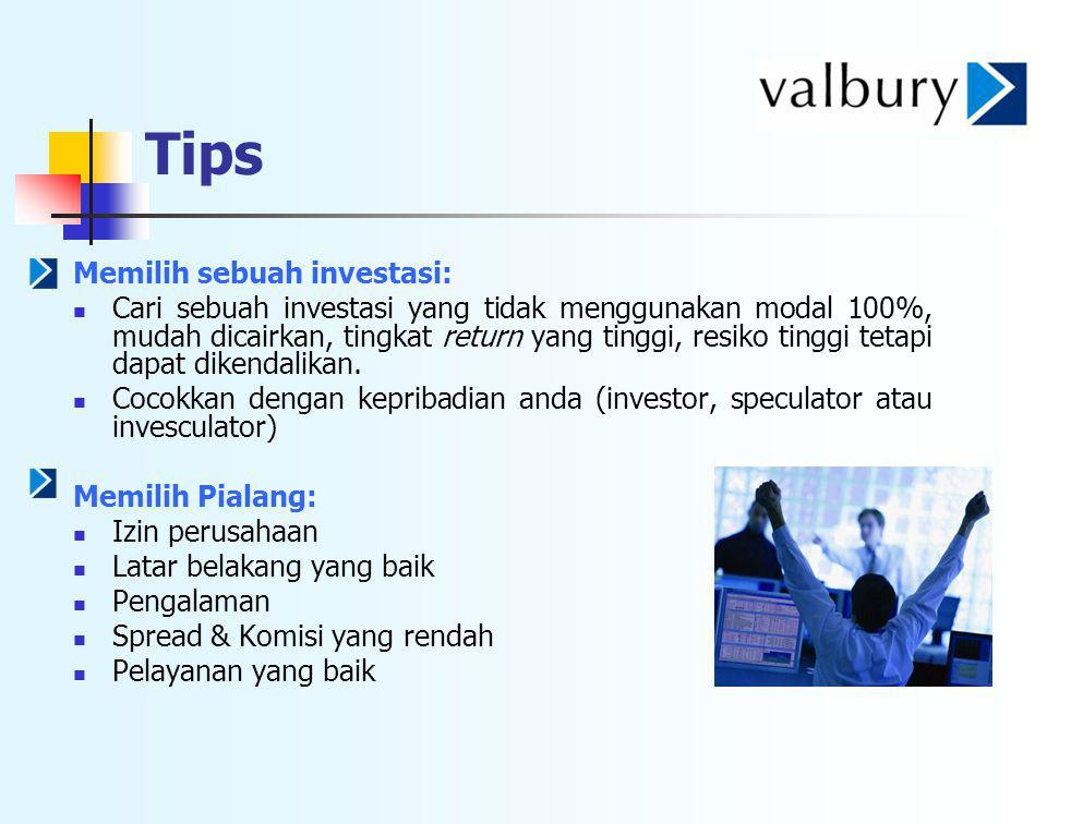 Tips Memilih sebuah investasi: Cari sebuah investasi yang tidak menggunakan modal 100%, mudah dicairkan, tingkat return yang tinggi, resiko tinggi tet