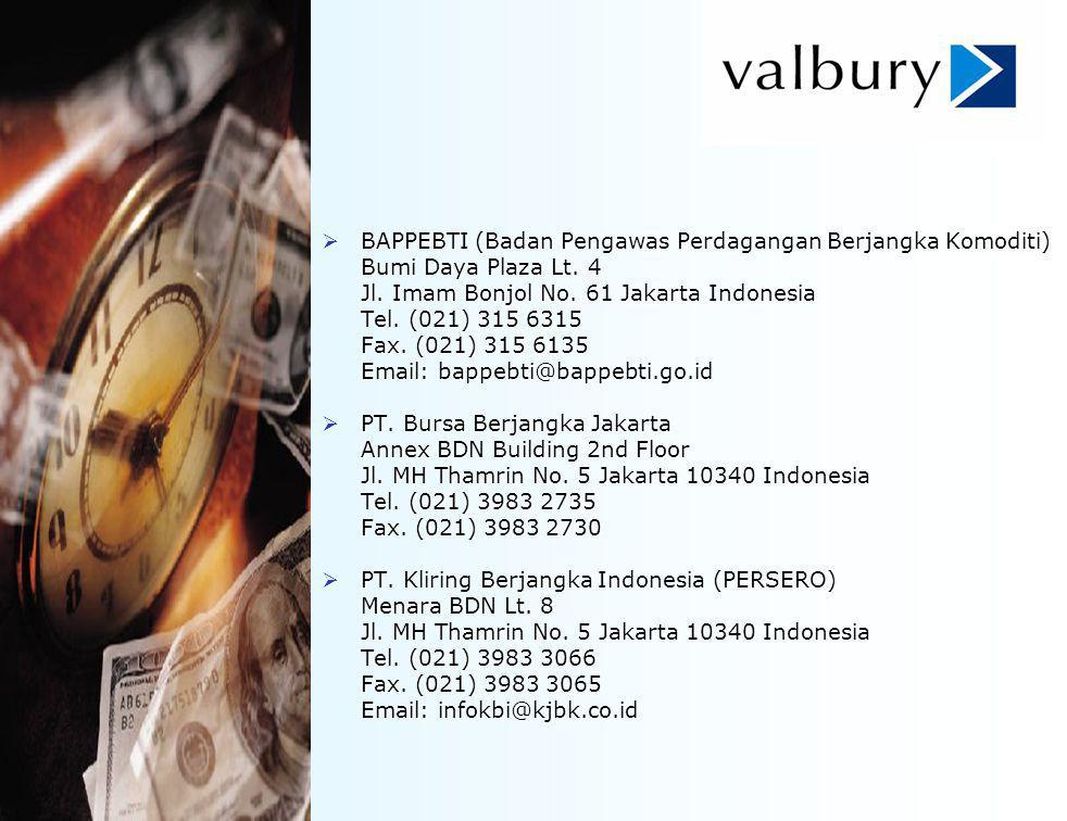 Links:  BAPPEBTI (Badan Pengawas Perdagangan Berjangka Komoditi) Bumi Daya Plaza Lt. 4 Jl. Imam Bonjol No. 61 Jakarta Indonesia Tel. (021) 315 6315 F