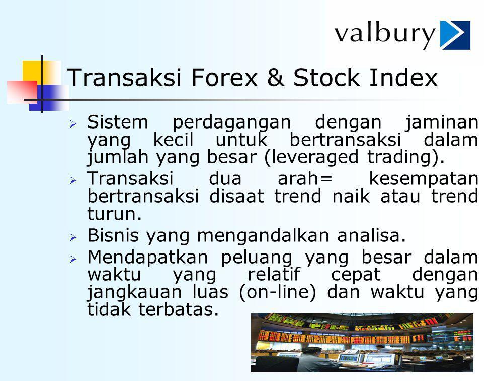 Transaksi Forex & Stock Index  Sistem perdagangan dengan jaminan yang kecil untuk bertransaksi dalam jumlah yang besar (leveraged trading).  Transak