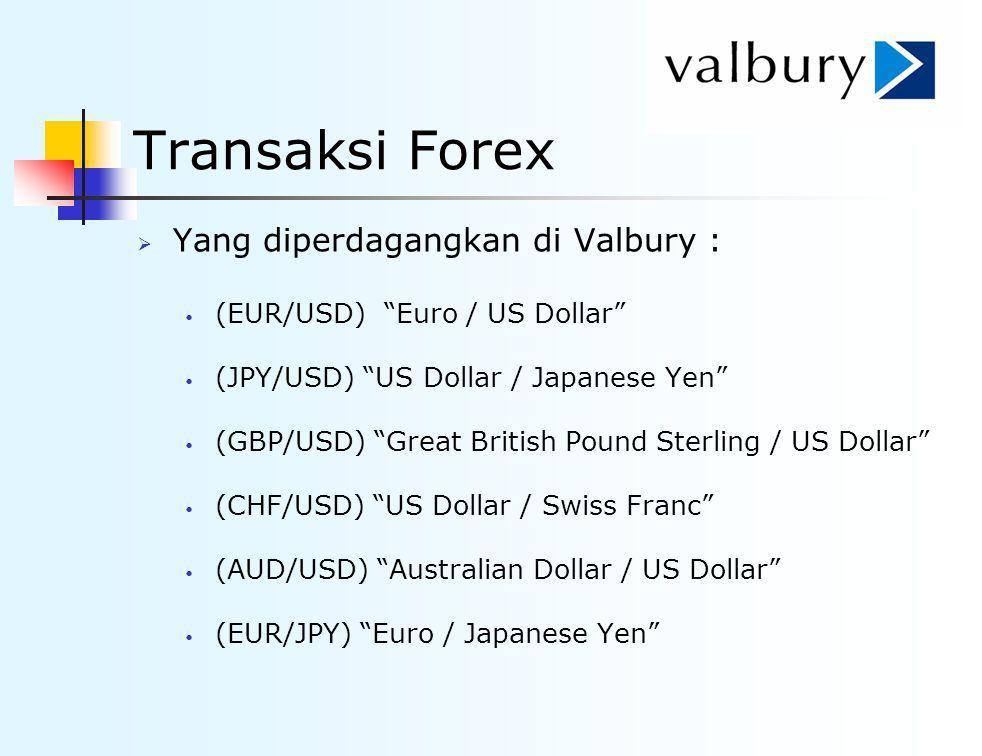 """Transaksi Forex  Yang diperdagangkan di Valbury : (EUR/USD) """"Euro / US Dollar"""" (JPY/USD) """"US Dollar / Japanese Yen"""" (GBP/USD) """"Great British Pound St"""