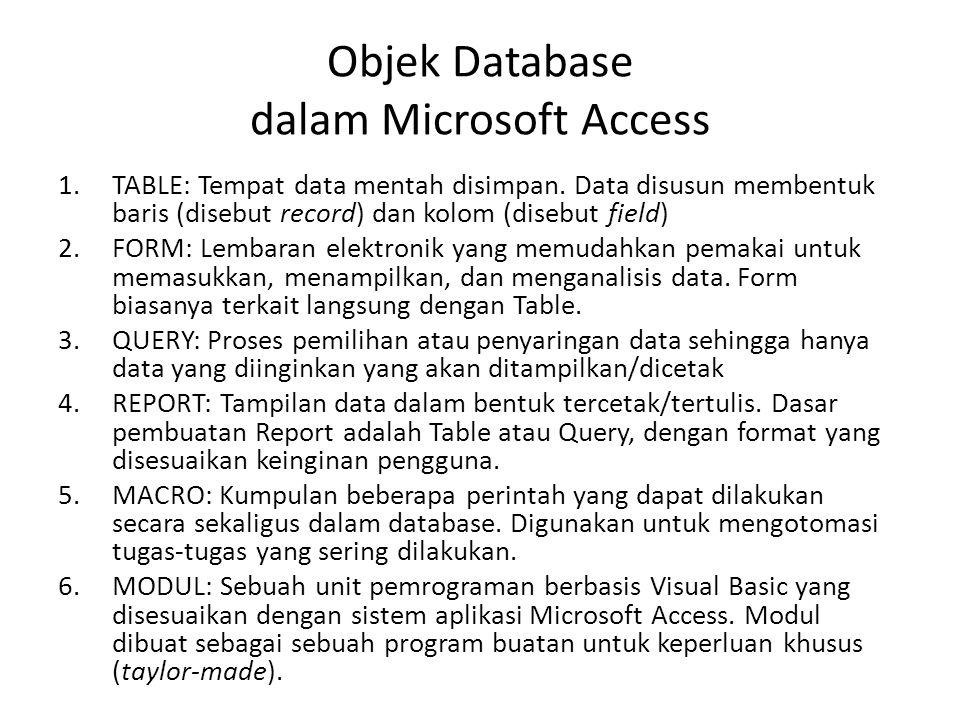 DATABASE RELASIONAL  Aplikasi manajemen database mengenal dua macam bentuk database: 1.flat-file: semua record tersimpan dalam satu tabel; 2.database relasional: memiliki banyak tabel yang saling terkait, dengan sebuah unsur data yg berfungsi sebagai pengait (disebut primary key).