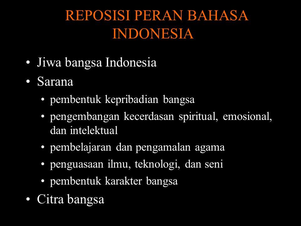 REPOSISI PERAN BAHASA INDONESIA Jiwa bangsa Indonesia Sarana pembentuk kepribadian bangsa pengembangan kecerdasan spiritual, emosional, dan intelektual pembelajaran dan pengamalan agama penguasaan ilmu, teknologi, dan seni pembentuk karakter bangsa Citra bangsa
