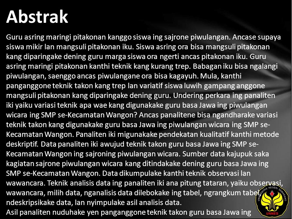 Kata Kunci teknik takon, piwulangan basa Jawa, wicara.