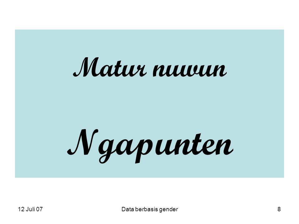 12 Juli 07Data berbasis gender8 Matur nuwun Ngapunten