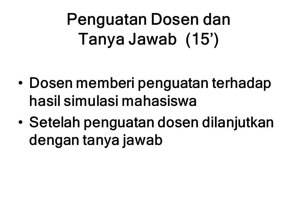 Penguatan Dosen dan Tanya Jawab (15') Dosen memberi penguatan terhadap hasil simulasi mahasiswa Setelah penguatan dosen dilanjutkan dengan tanya jawab