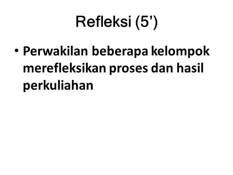 Refleksi (5') Perwakilan beberapa kelompok merefleksikan proses dan hasil perkuliahan