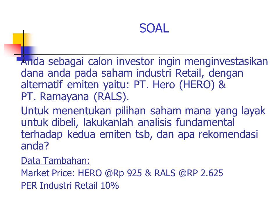 SOAL Anda sebagai calon investor ingin menginvestasikan dana anda pada saham industri Retail, dengan alternatif emiten yaitu: PT.