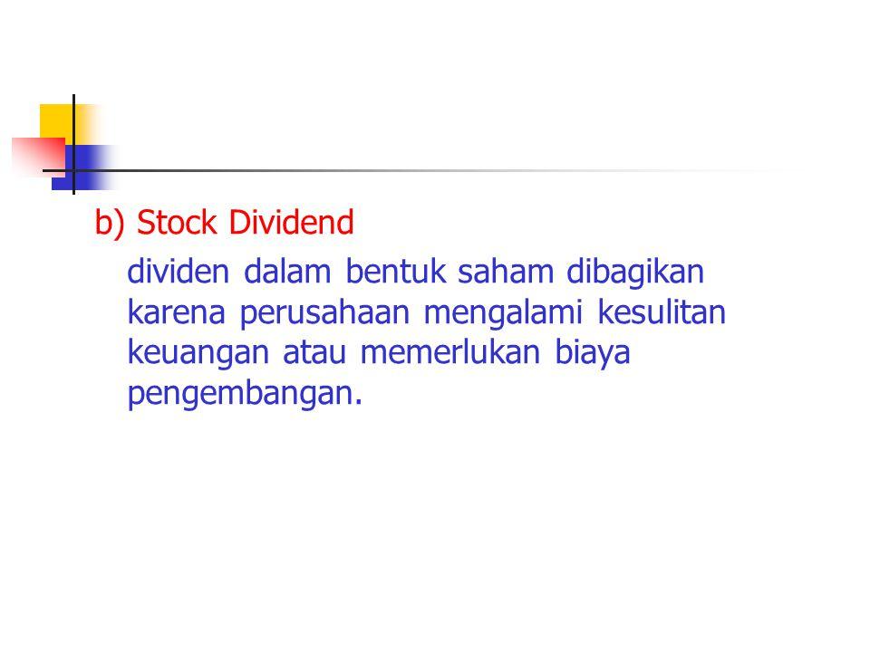 b) Stock Dividend dividen dalam bentuk saham dibagikan karena perusahaan mengalami kesulitan keuangan atau memerlukan biaya pengembangan.