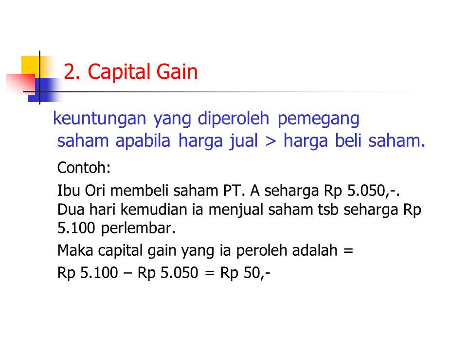 2.Capital Gain keuntungan yang diperoleh pemegang saham apabila harga jual > harga beli saham.