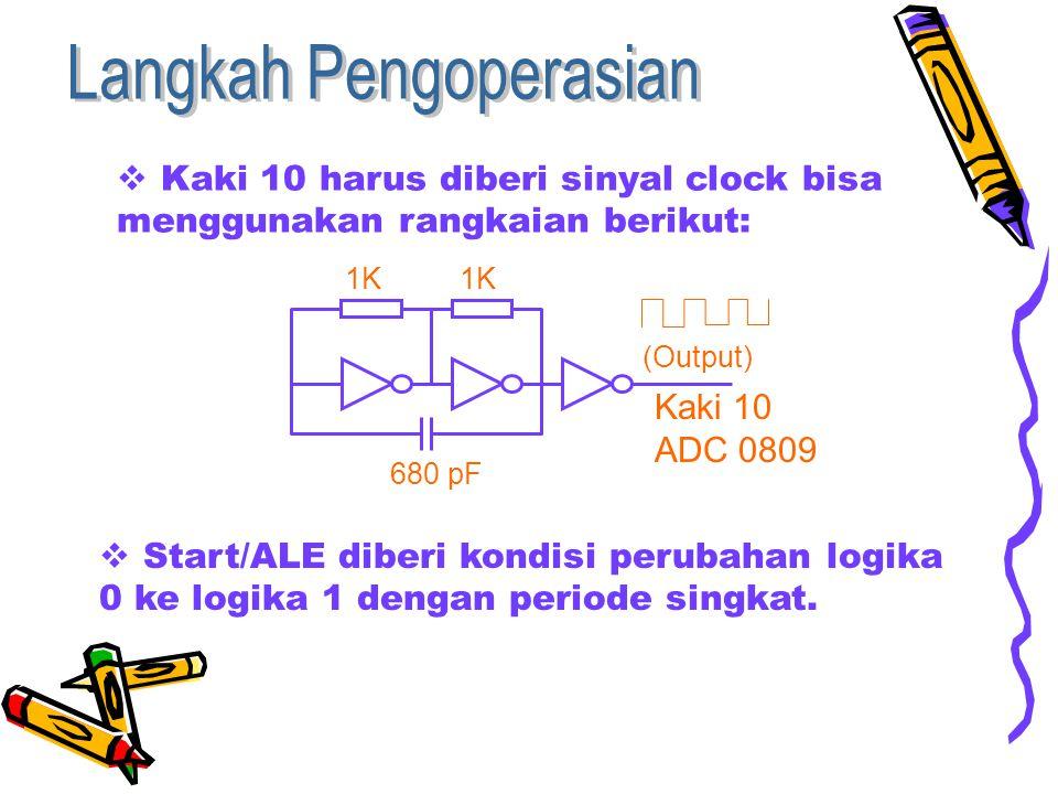  Kaki 10 harus diberi sinyal clock bisa menggunakan rangkaian berikut:  Start/ALE diberi kondisi perubahan logika 0 ke logika 1 dengan periode singkat.