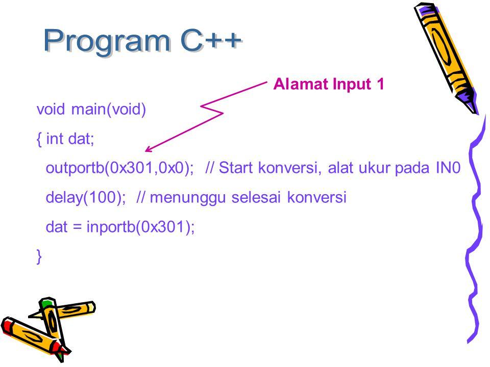 void main(void) { int dat; outportb(0x301,0x0); // Start konversi, alat ukur pada IN0 delay(100); // menunggu selesai konversi dat = inportb(0x301); } Alamat Input 1