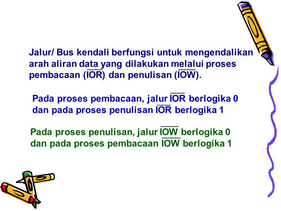 Jalur/ Bus kendali berfungsi untuk mengendalikan arah aliran data yang dilakukan melalui proses pembacaan (IOR) dan penulisan (IOW).
