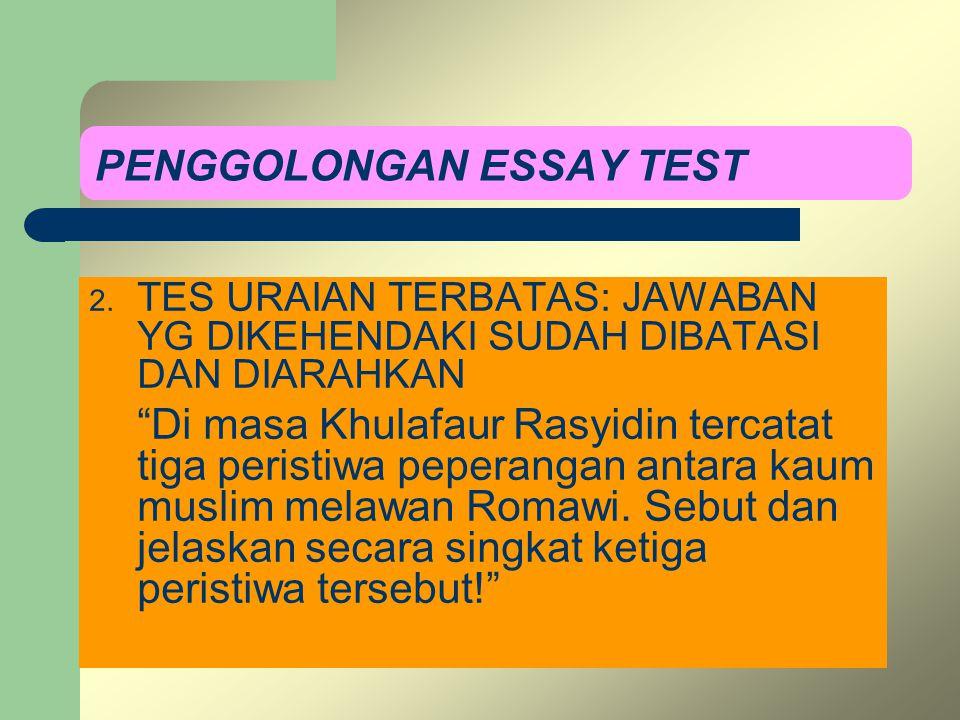 PENGGOLONGAN ESSAY TEST 2.