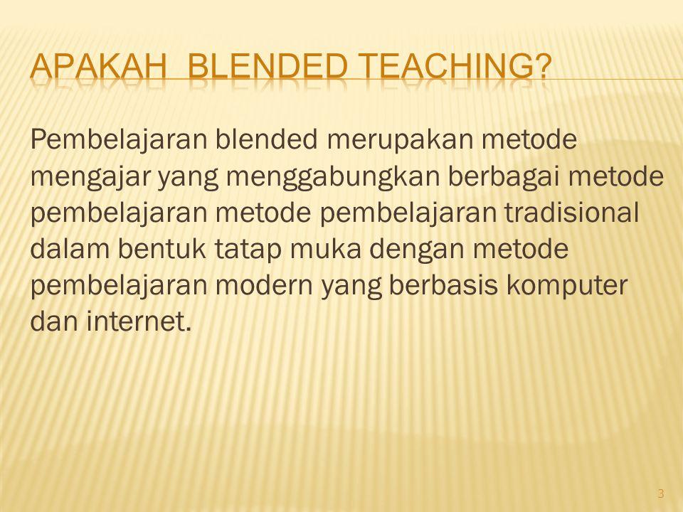 Pembelajaran blended merupakan metode mengajar yang menggabungkan berbagai metode pembelajaran metode pembelajaran tradisional dalam bentuk tatap muka dengan metode pembelajaran modern yang berbasis komputer dan internet.