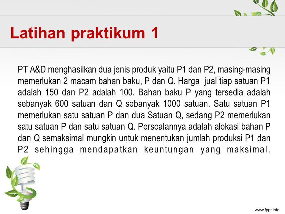 PT A&D menghasilkan dua jenis produk yaitu P1 dan P2, masing-masing memerlukan 2 macam bahan baku, P dan Q. Harga jual tiap satuan P1 adalah 150 dan P