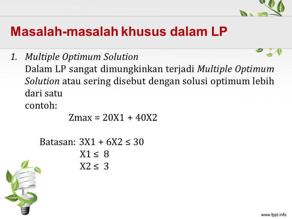 1.Multiple Optimum Solution Dalam LP sangat dimungkinkan terjadi Multiple Optimum Solution atau sering disebut dengan solusi optimum lebih dari satu contoh: Zmax = 20X1 + 40X2 Batasan: 3X1 + 6X2 ≤ 30 X1 ≤ 8 X2 ≤ 3 Masalah-masalah khusus dalam LP