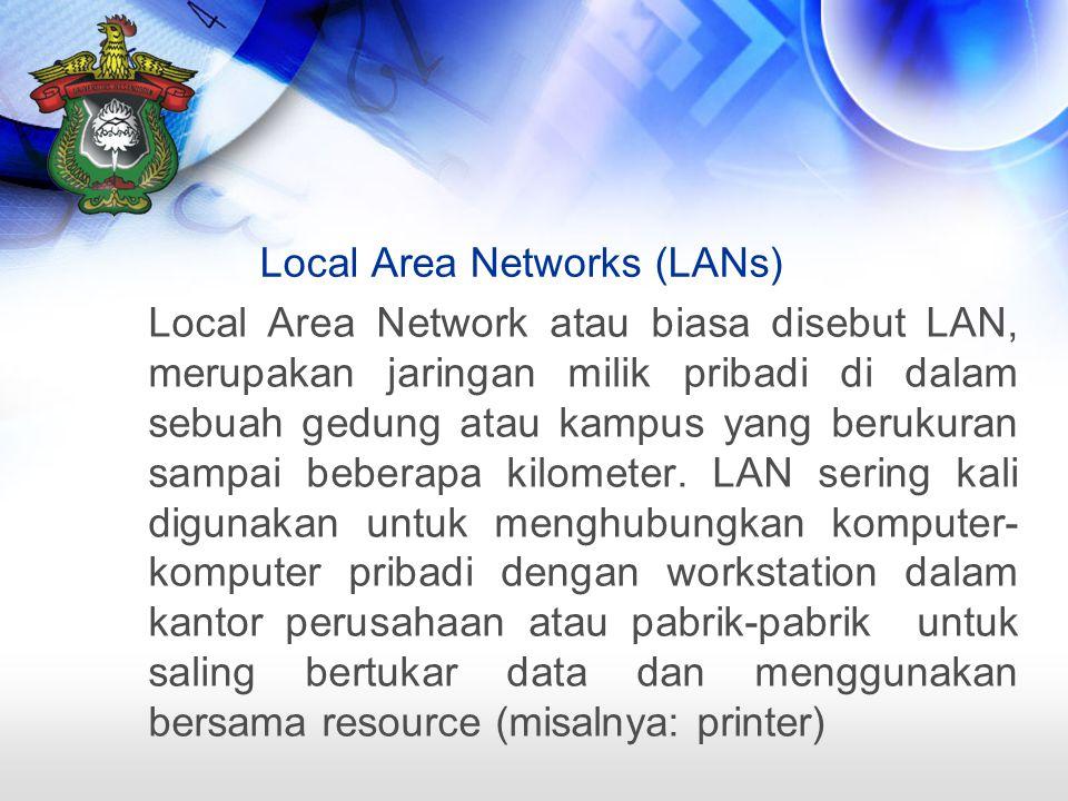 Local Area Network atau biasa disebut LAN, merupakan jaringan milik pribadi di dalam sebuah gedung atau kampus yang berukuran sampai beberapa kilometer.