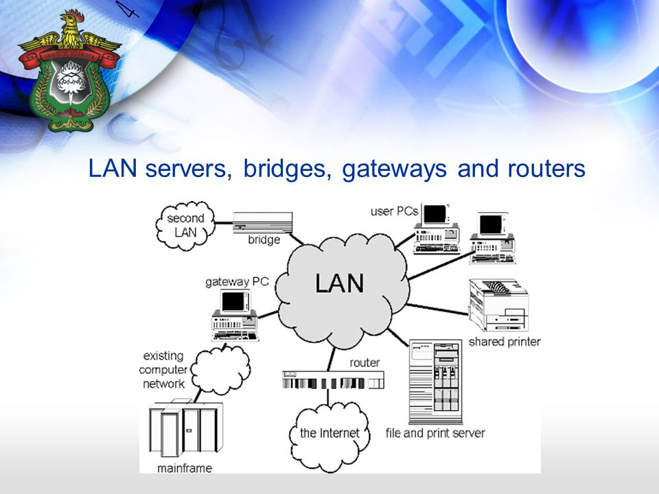 LAN servers, bridges, gateways and routers