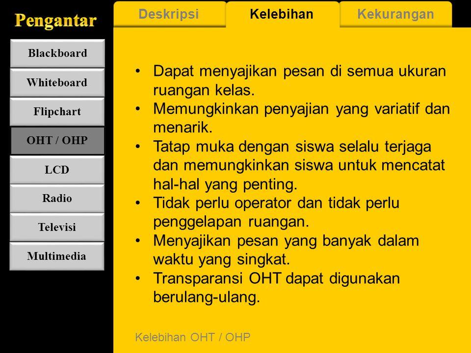 Deskripsi OHT / OHP OHT (Overhead Transparency) adalah media visual yang diproyeksikan melalui alat proyeksi yang disebut OHP (Overhead Projector). OH