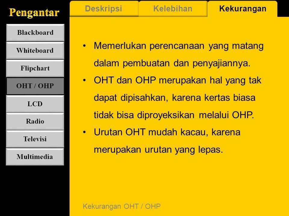 Kelebihan OHT / OHP Dapat menyajikan pesan di semua ukuran ruangan kelas. Memungkinkan penyajian yang variatif dan menarik. Tatap muka dengan siswa se