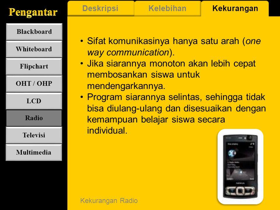 Kelebihan Radio Memiliki variasi program yang cukup banyak. Mobile, karena mudah dipindah tempat & gelombangnya. Baik untuk mengembangkan imajinasi si