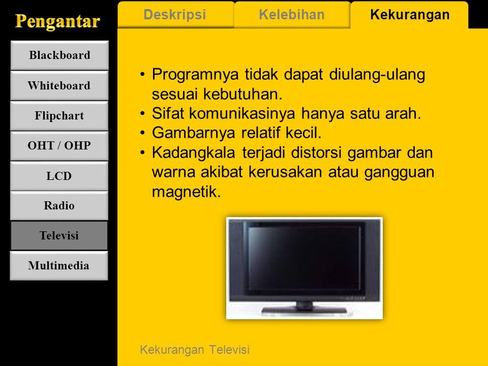 Kelebihan Televisi Informasi/pesan yang disajikannya lebih aktual. Jangkauan penyebarannya sangat luas. Memberikan pesan yang dapat diterima secara le