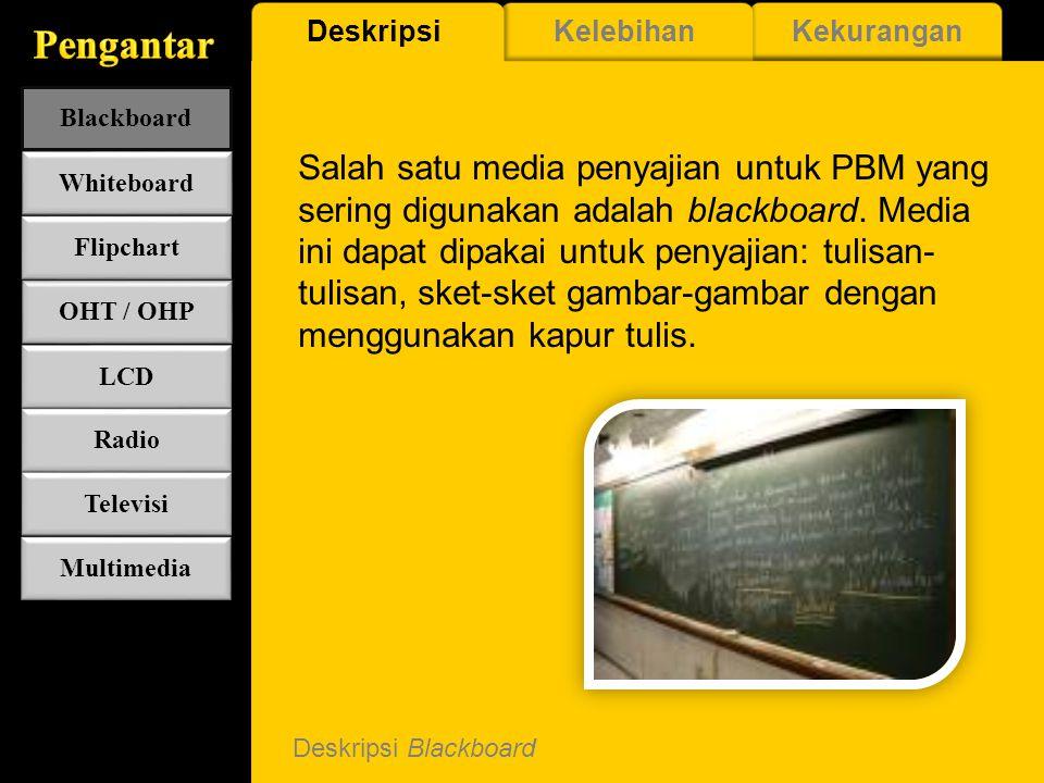 Deskripsi Blackboard Salah satu media penyajian untuk PBM yang sering digunakan adalah blackboard.