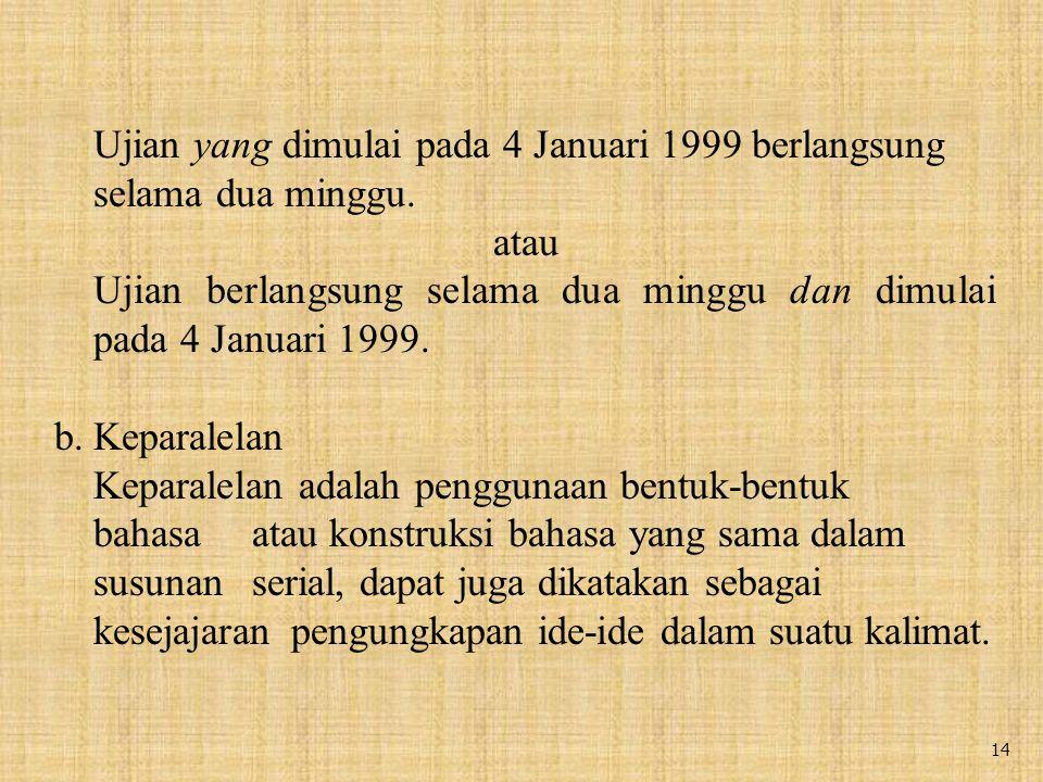 14 Ujian yang dimulai pada 4 Januari 1999 berlangsung selama dua minggu.