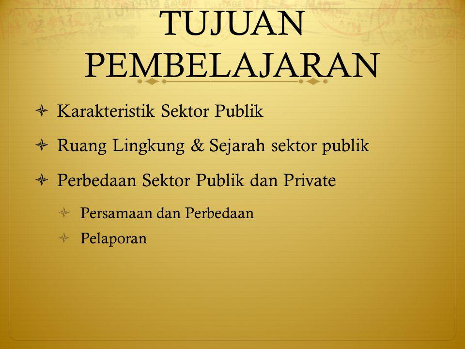 TUJUAN PEMBELAJARAN  Karakteristik Sektor Publik  Ruang Lingkung & Sejarah sektor publik  Perbedaan Sektor Publik dan Private  Persamaan dan Perbe