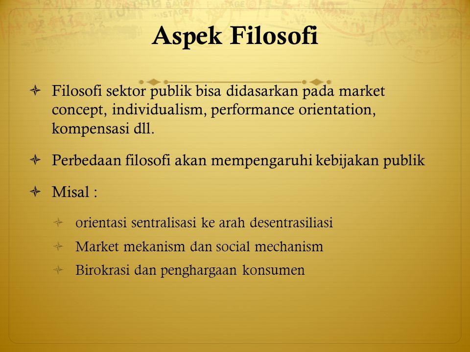 Aspek Filosofi  Filosofi sektor publik bisa didasarkan pada market concept, individualism, performance orientation, kompensasi dll.  Perbedaan filos