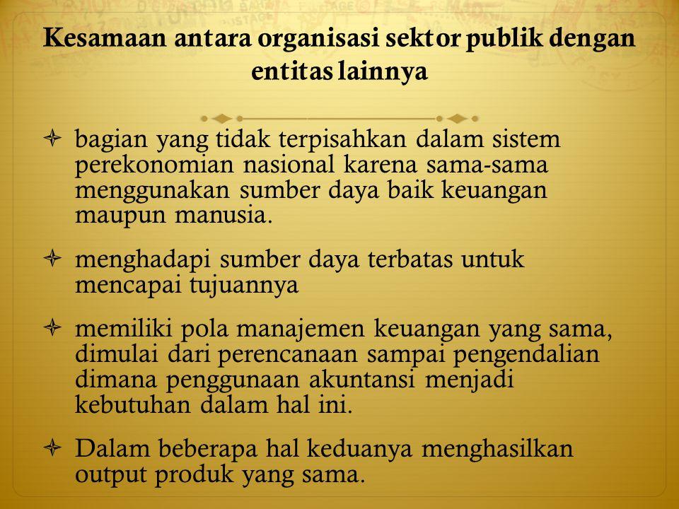 Kesamaan antara organisasi sektor publik dengan entitas lainnya  bagian yang tidak terpisahkan dalam sistem perekonomian nasional karena sama-sama me