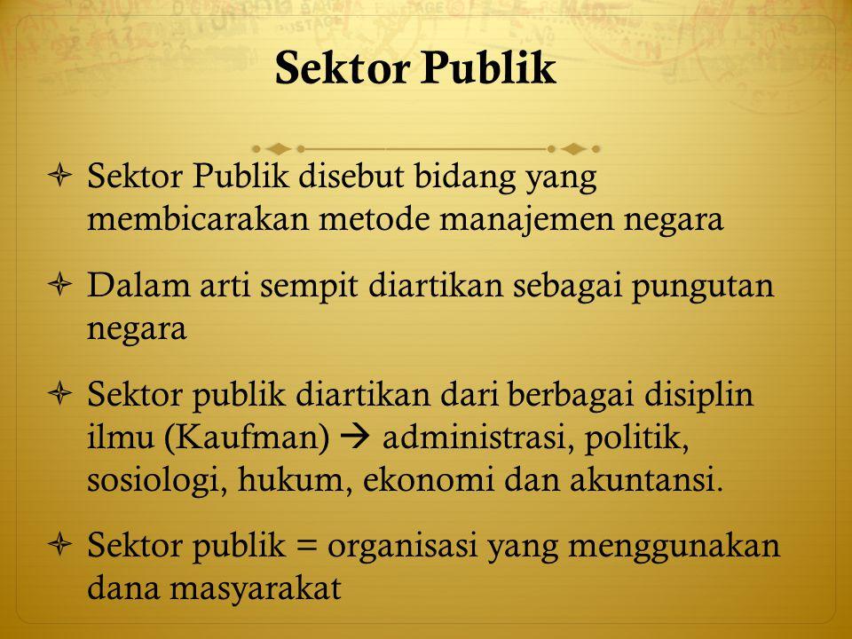 Sektor Publik  Sektor Publik disebut bidang yang membicarakan metode manajemen negara  Dalam arti sempit diartikan sebagai pungutan negara  Sektor
