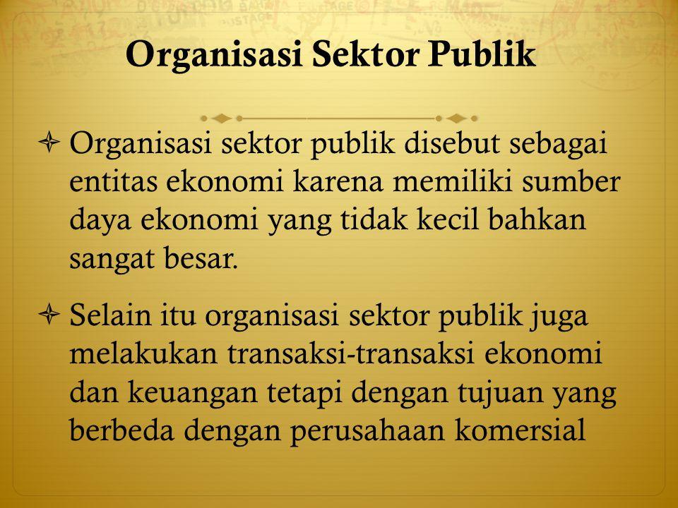 Organisasi Sektor Publik (cont'd)  Pengertian Sektor Publik sangat luas karena masing-masing disiplin ilmu mempunyai definisi sendiri.