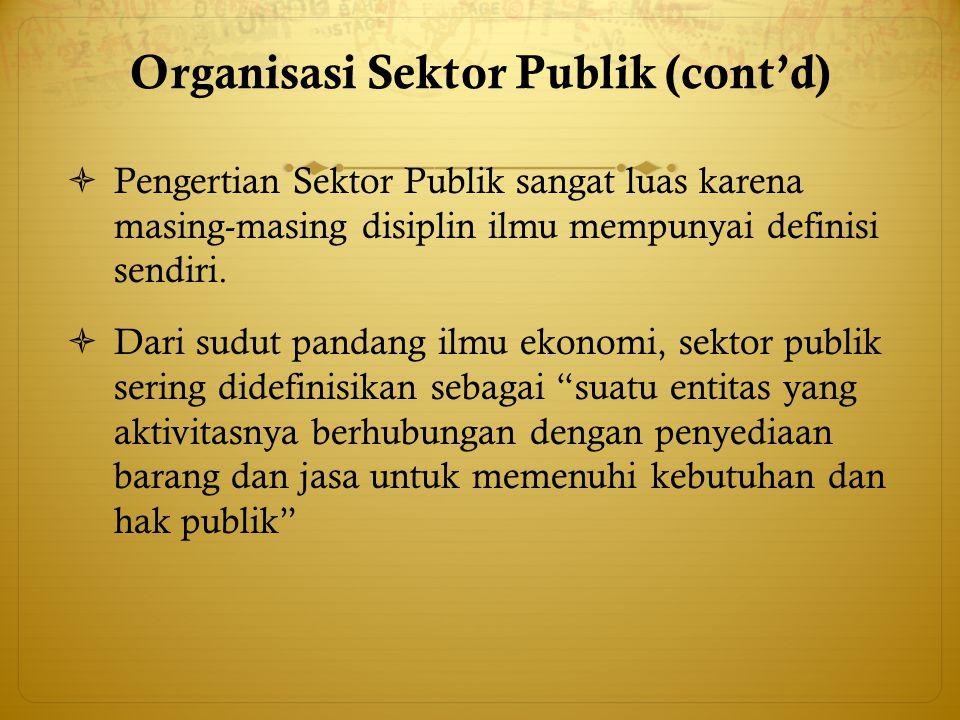 Organisasi Sektor Publik (cont'd)  Pengertian Sektor Publik sangat luas karena masing-masing disiplin ilmu mempunyai definisi sendiri.  Dari sudut p