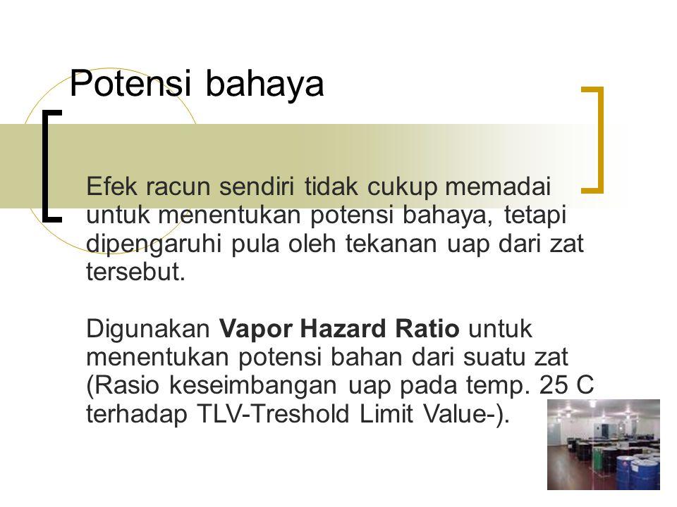 Potensi bahaya Efek racun sendiri tidak cukup memadai untuk menentukan potensi bahaya, tetapi dipengaruhi pula oleh tekanan uap dari zat tersebut. Dig