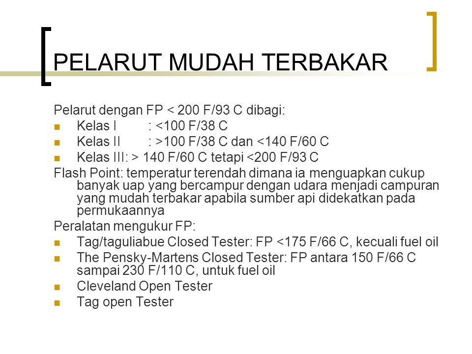 PELARUT MUDAH TERBAKAR Pelarut dengan FP < 200 F/93 C dibagi: Kelas I: <100 F/38 C Kelas II: >100 F/38 C dan <140 F/60 C Kelas III: > 140 F/60 C tetap