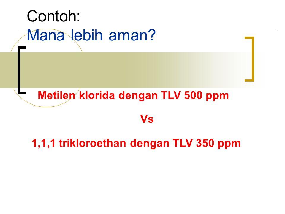 Contoh: Mana lebih aman? Metilen klorida dengan TLV 500 ppm Vs 1,1,1 trikloroethan dengan TLV 350 ppm