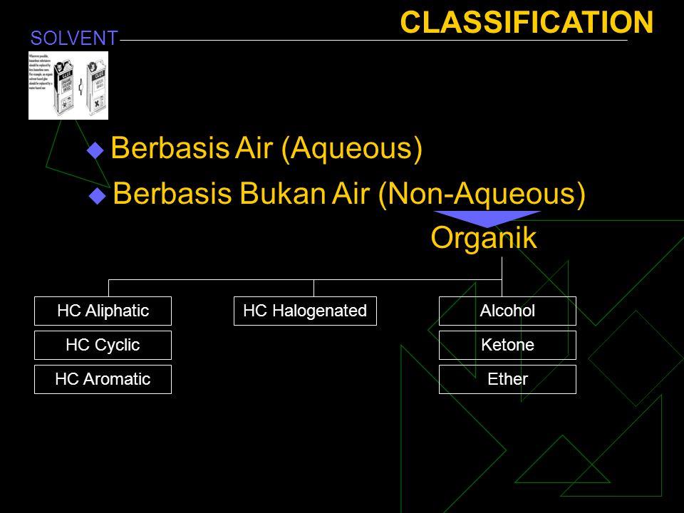 SOLVENT CLASSIFICATION  Berbasis Air (Aqueous)  Berbasis Bukan Air (Non-Aqueous) Organik HC Aliphatic HC Cyclic HC Aromatic HC HalogenatedAlcohol Ke