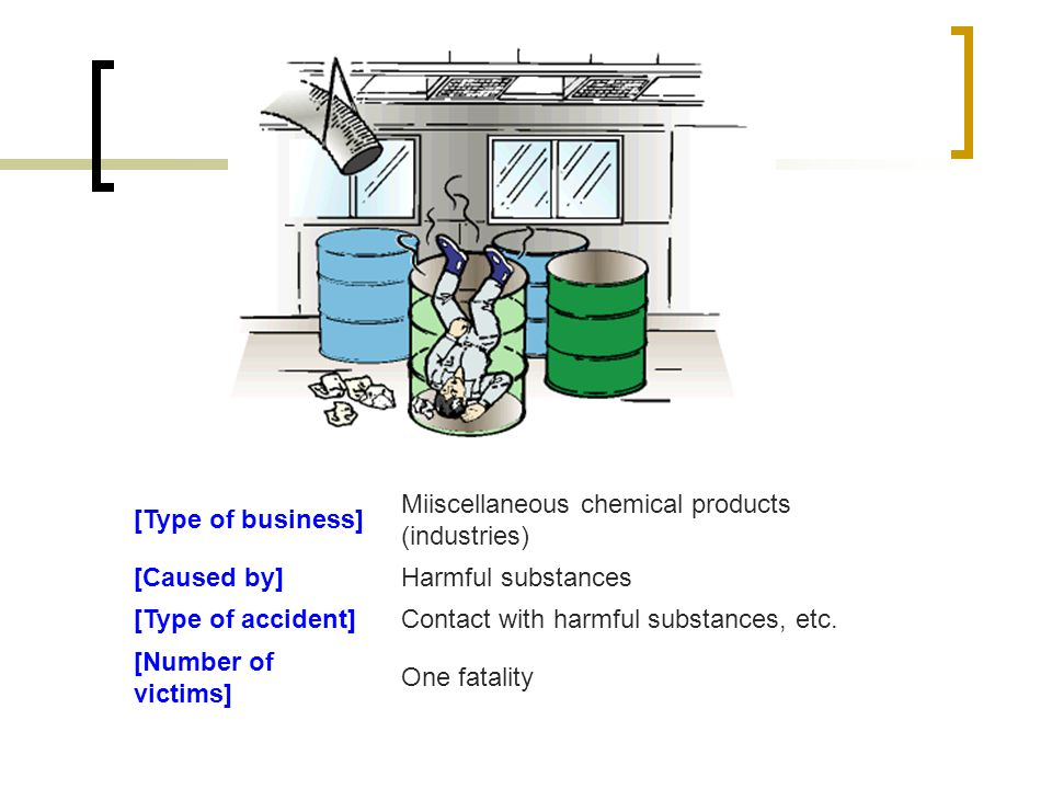 [Type of business] Miiscellaneous chemical products (industries) [Caused by]Harmful substances [Type of accident]Contact with harmful substances, etc.