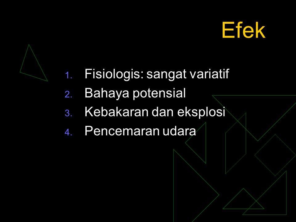 Efek 1. Fisiologis: sangat variatif 2. Bahaya potensial 3. Kebakaran dan eksplosi 4. Pencemaran udara