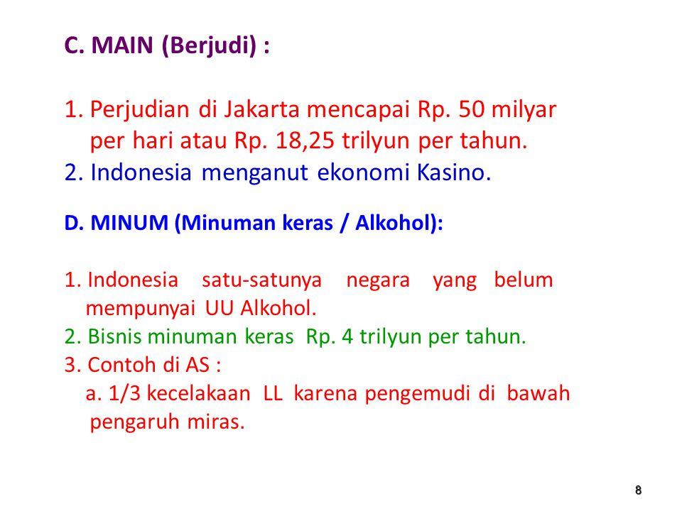 7 B. MADON (Seks bebas, pelacuran, pornografi / Pornoaksi) : 1.Bisnis pelacuran di Indonesia Rp. 11 trilyun. 2.Penyebaran HIV/AIDS mencapai 2,5 juta o