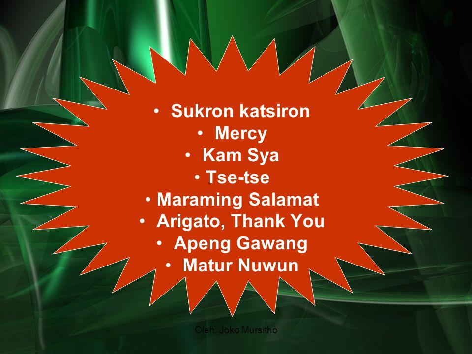 Sukron katsiron Mercy Kam Sya Tse-tse Maraming Salamat Arigato, Thank You Apeng Gawang Matur Nuwun