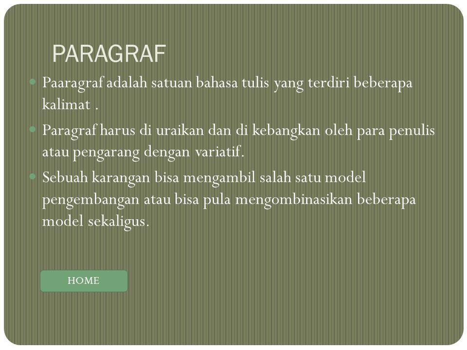 PARAGRAF Paaragraf adalah satuan bahasa tulis yang terdiri beberapa kalimat. Paragraf harus di uraikan dan di kebangkan oleh para penulis atau pengara