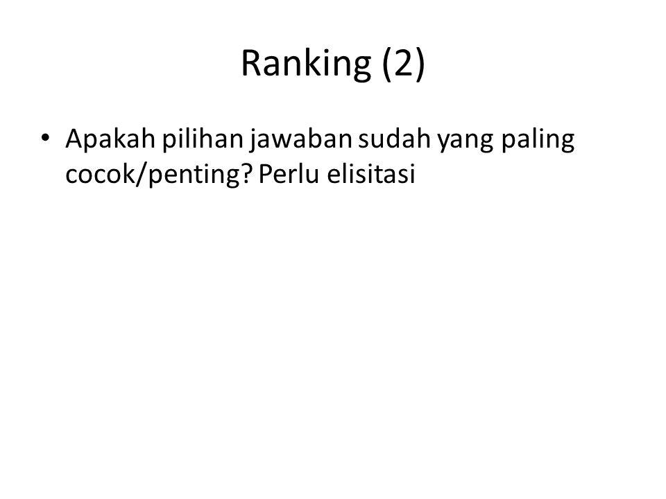 Ranking (2) Apakah pilihan jawaban sudah yang paling cocok/penting? Perlu elisitasi